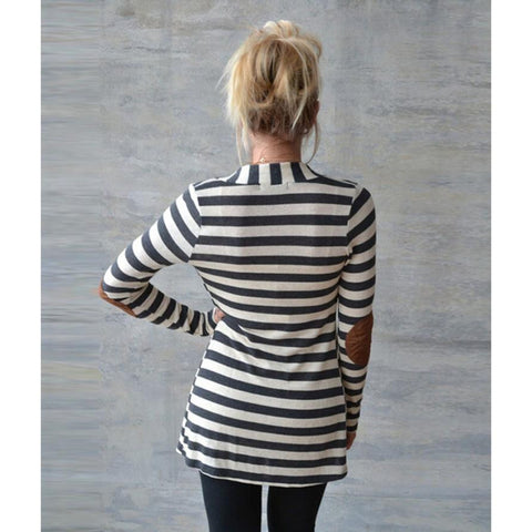 Casual Long Sleeve Striped Cardigan-This Fashion Woman
