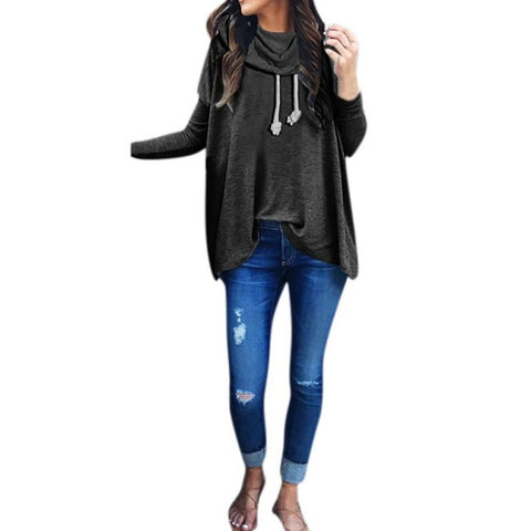 Bow Neck Long Sleeve Loose Hoodie Pullover