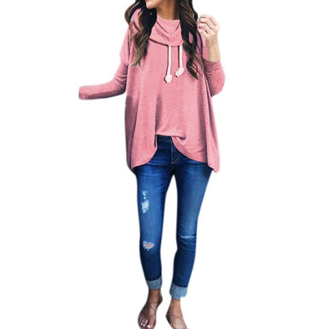 Bow Neck Long Sleeve Loose Hoodie Pullover-This Fashion Woman