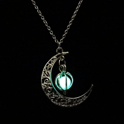 Glow In the Dark Moon Necklace-This Fashion Woman