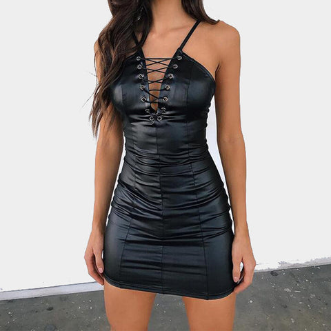 Bandage Harness Leather Dress-This Fashion Woman