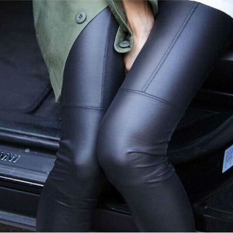 Faux Leather Stretchy Leggings-This Fashion Woman