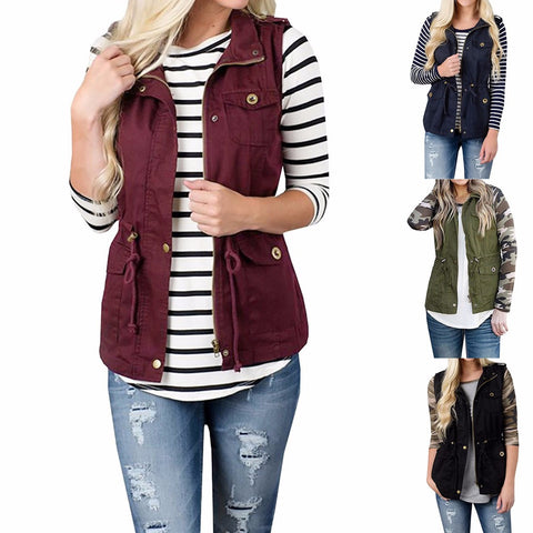 Sleeveless Stretchy Drawstring Jacket Vest with Zipper-This Fashion Woman