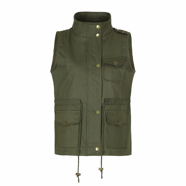 Sleeveless Stretchy Drawstring Jacket Vest with Zipper