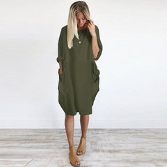 Pocket Loose Casual Dress-This Fashion Woman