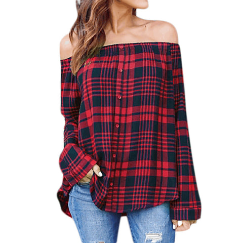 Casual Plaid Off Shoulder Blouse-This Fashion Woman