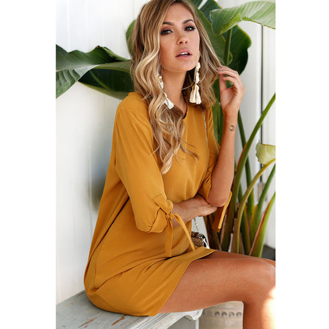 Carefree Bow-knot Sleeves Dress