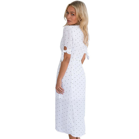 Chiffon Long Maxi Polka Dot Printed Dress-This Fashion Woman