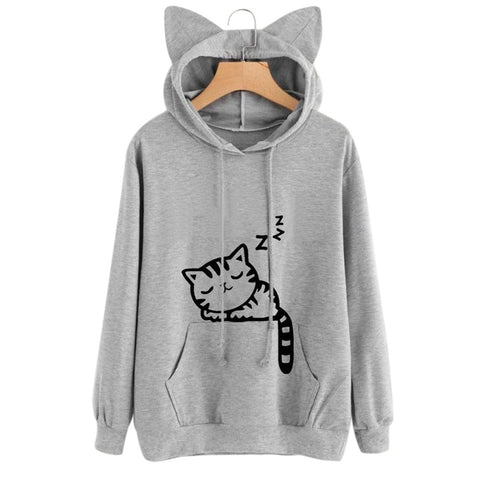 Cat Ear Hoodie Pullover Sweatshirt-This Fashion Woman
