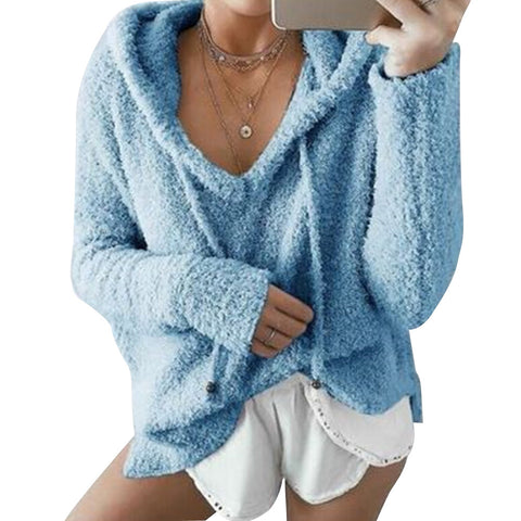 V Neck Long Sleeve Loose Fit Sweater