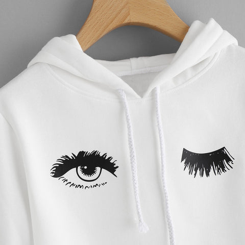 Wink-Eyed Printed Hoodie Sweatshirt-This Fashion Woman