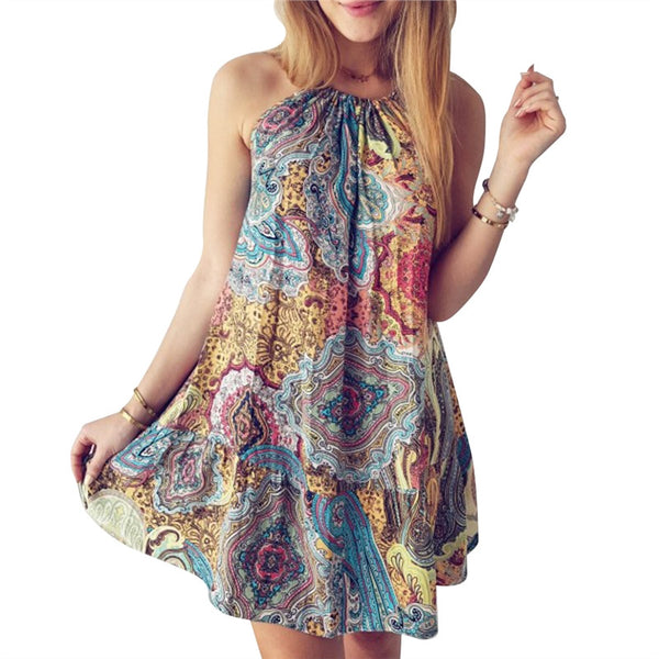 Boho Print Beach Floral Dress (Halter Neck)