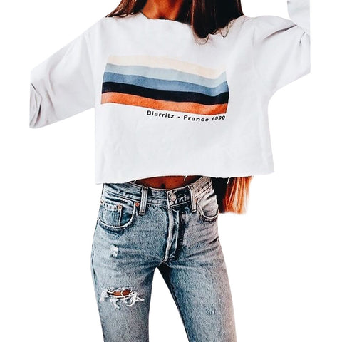 Rainbow Stripes Sweatshirt-This Fashion Woman