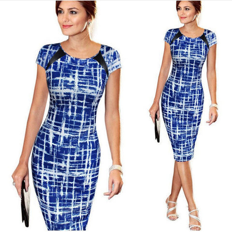 Retro Patchwork Pencil Dress