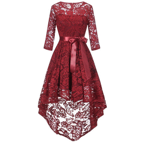 Womens Long Sleeve Formal Ladies Wedding Bridesmaid Lace Long Dress-This Fashion Woman