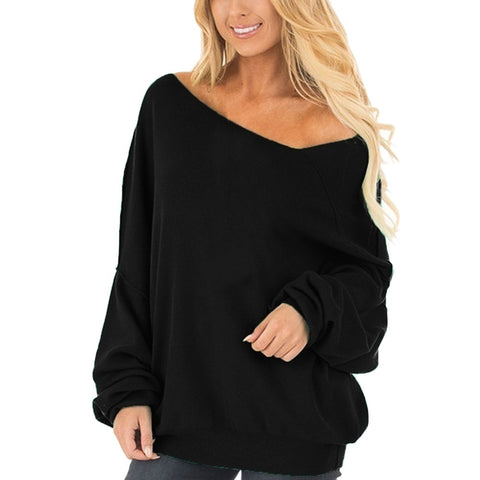 Casual Long Sleeved Off Shoulder Loose Sweatshirt-This Fashion Woman