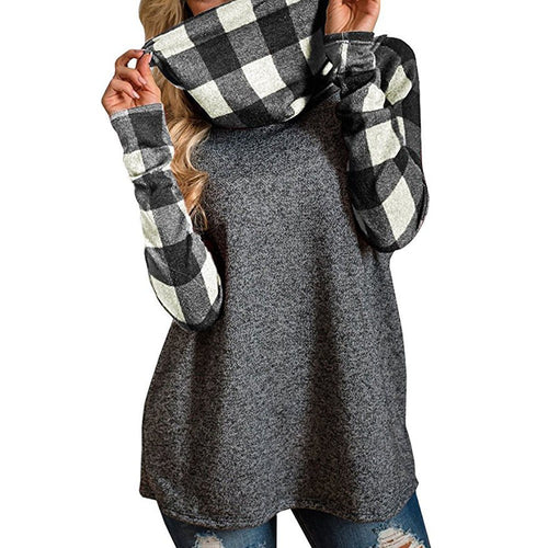 Turtleneck Plaid Sweatshirt