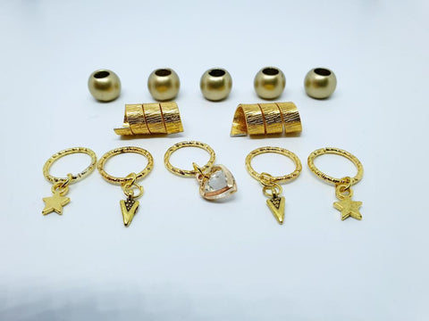 Gold Hair Jewellery Set  with Rings