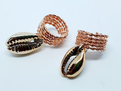 Rose Gold Hair Jewellery -Cowrie Rings