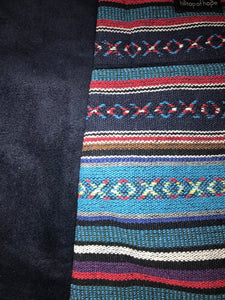 Handwoven Turquoise with Navy Suede