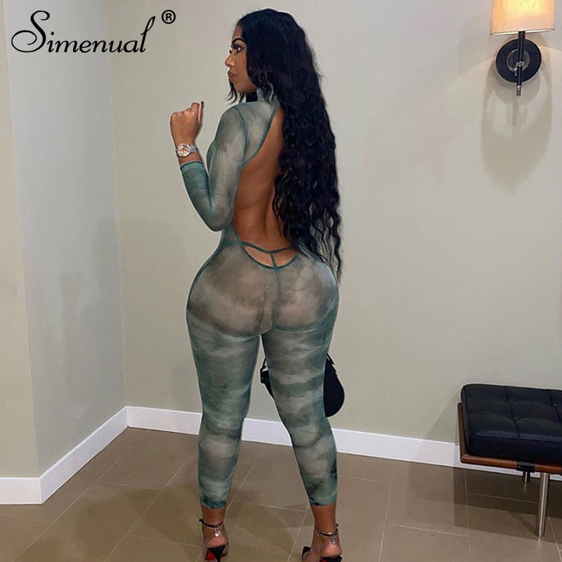 Simenual Backless Mesh Bodycon Jumpsuits See Through Women Tie Dye Sexy Hot Night Clubwear Long Sleeve Bodysuits With Thong Slim