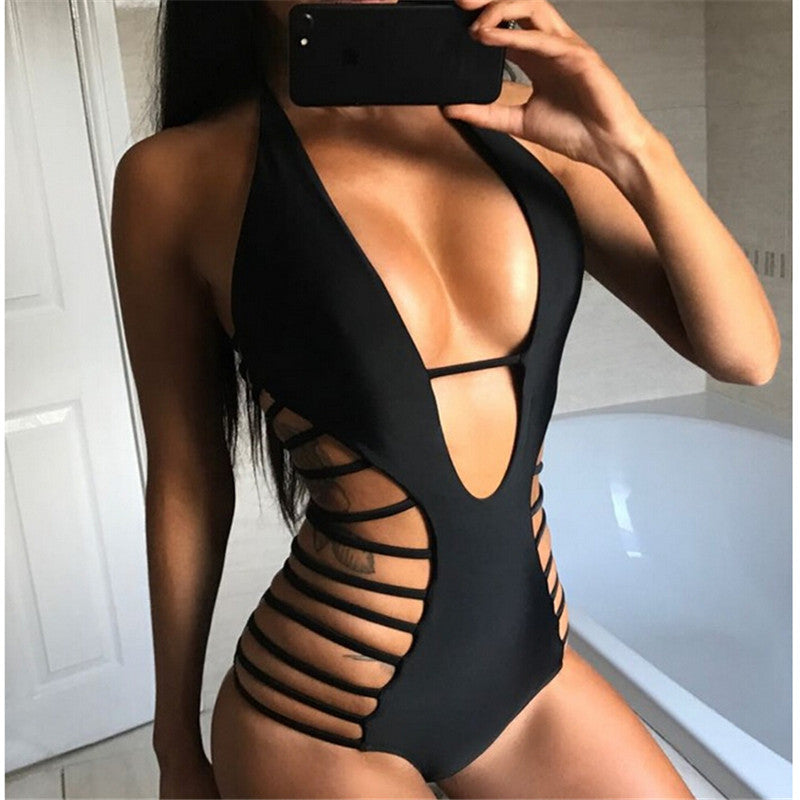 One Piece Deep V black Swimsuit