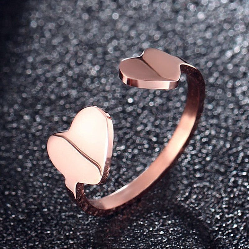 Romantic Adjustable Double Heart Rose Gold Toe Ring