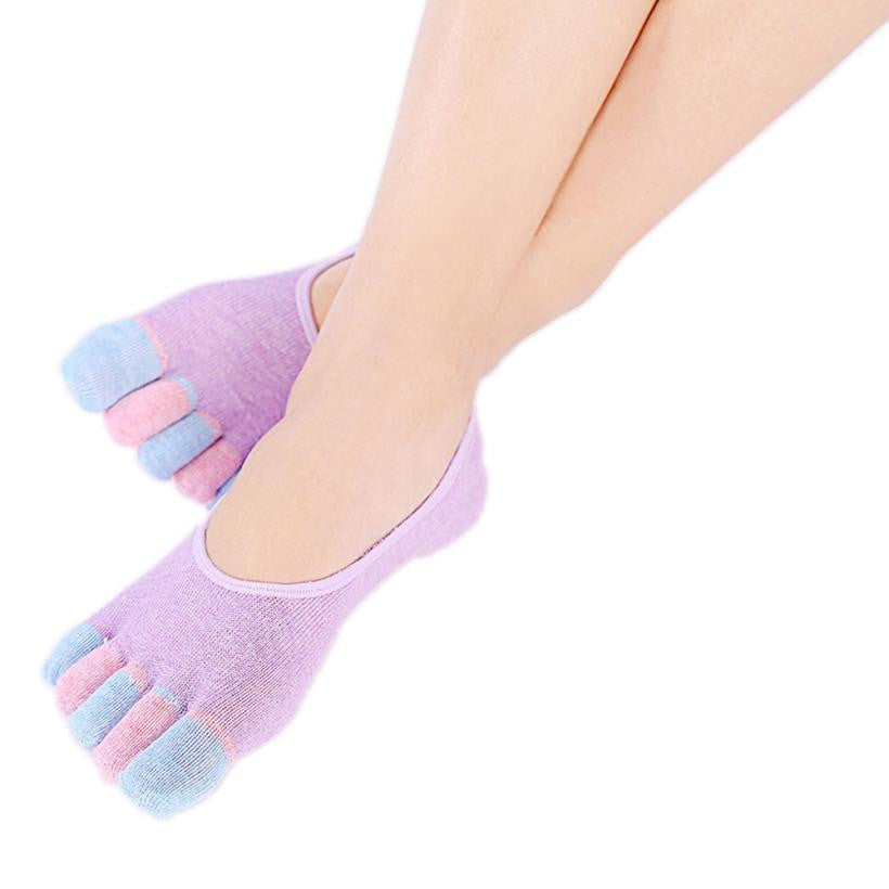 Colorful 5 Toe Yoga Gym Non Slip Toe Sport Socks