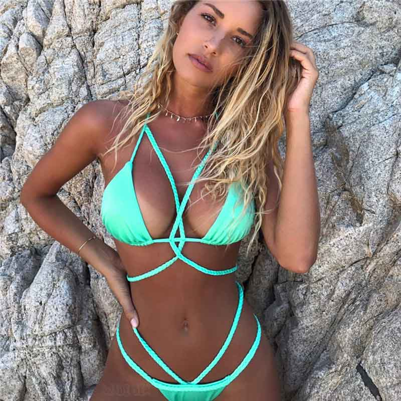 Sexy triangle push up bikini