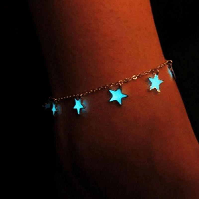 Luminous  Blue Pentagon Star Tassel Anklet Silver Chain