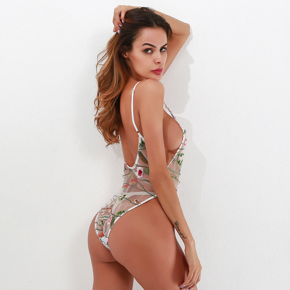 Mesh Embroidered One Piece Thong Monokini