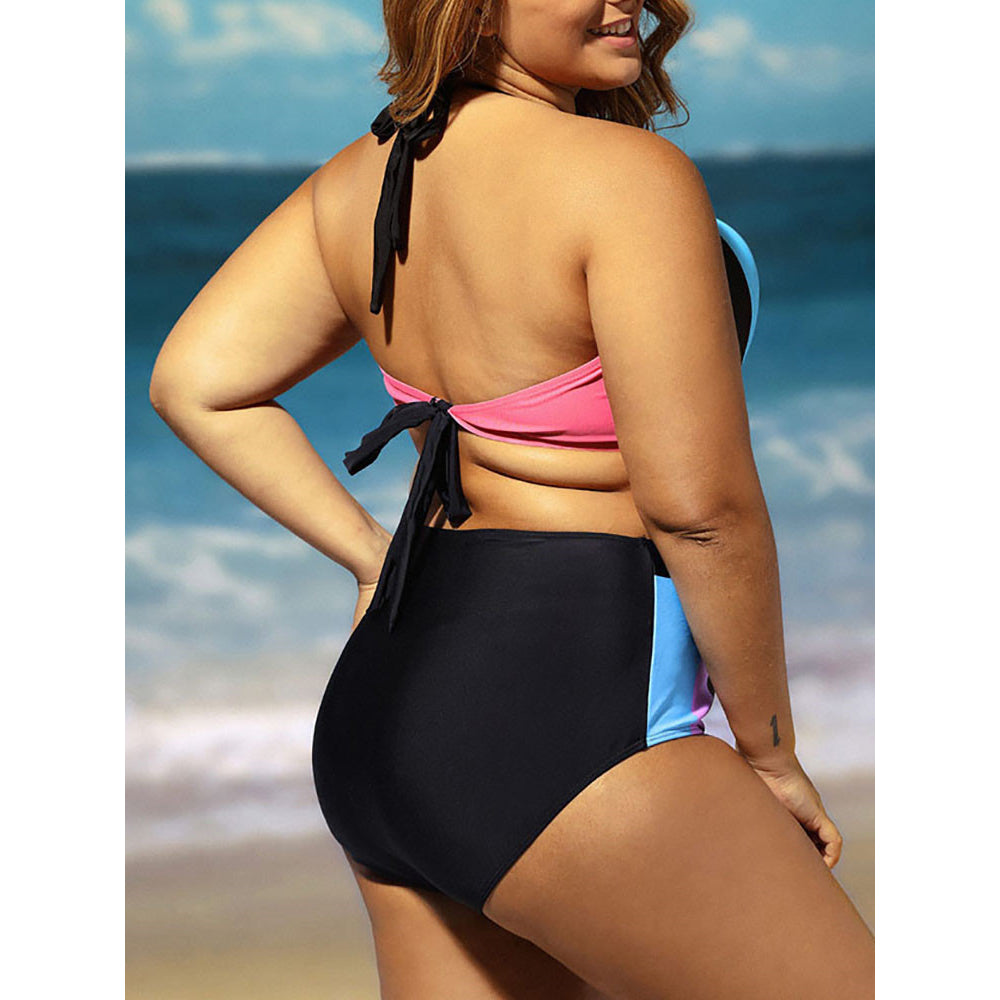 Sexy Halter Color Blocking Plus Size High Waist Bikini