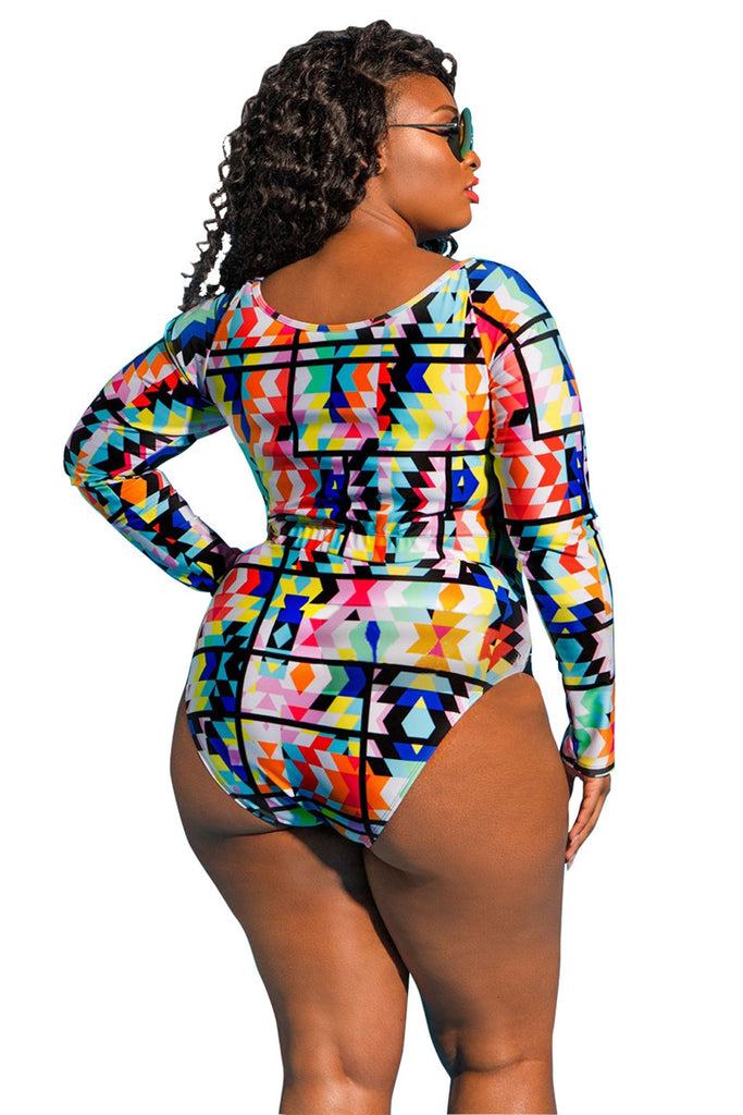 Colorful Print Plus Size Cut Out Long Sleeve Swimsuit