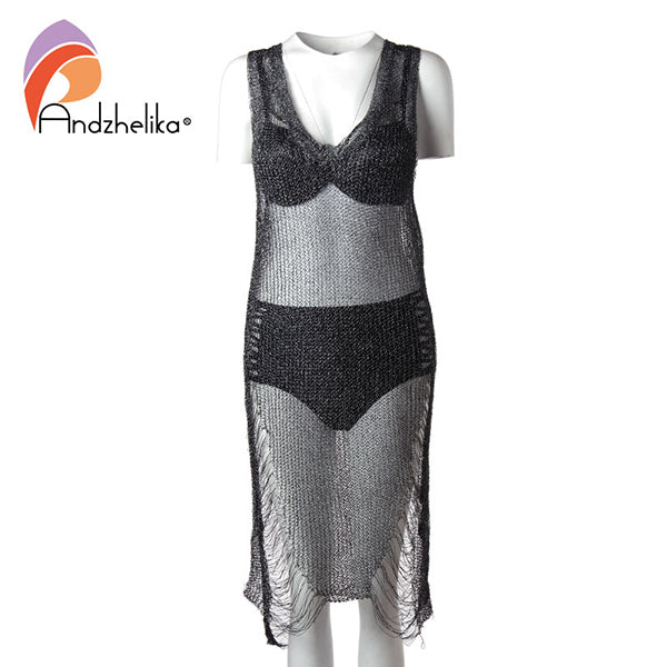 Metallic Mesh Beach Dress