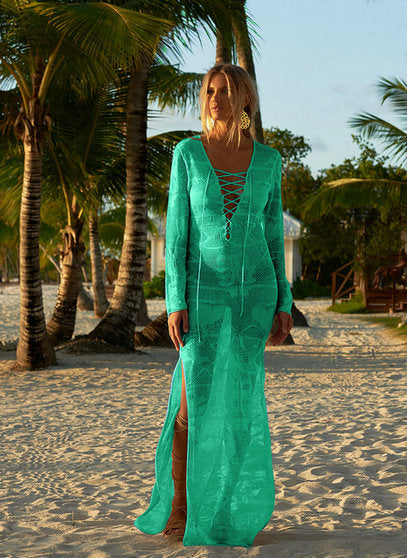 Long lace sheer cover up. Sheer lace dress cover up