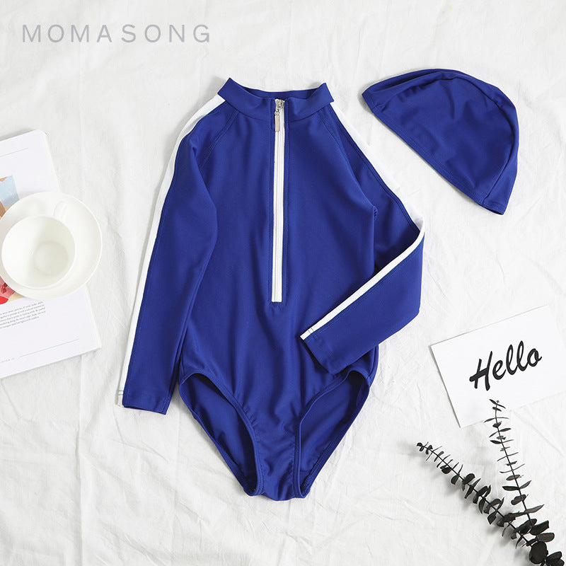 Mommy and Me Long Sleeve Zip Up Swimsuit