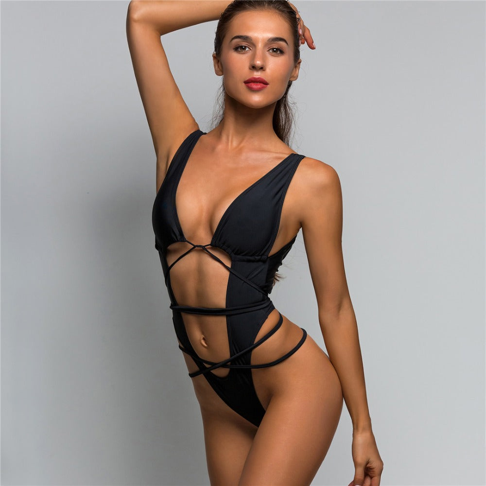 Cuttin' Up Sexy high cut one piece thong  swimsuit