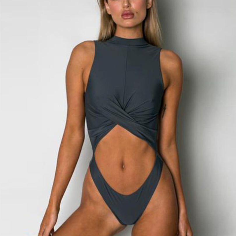 Criss Cross You're The Boss Sexy High Neck Wrap Chest Swimsuit