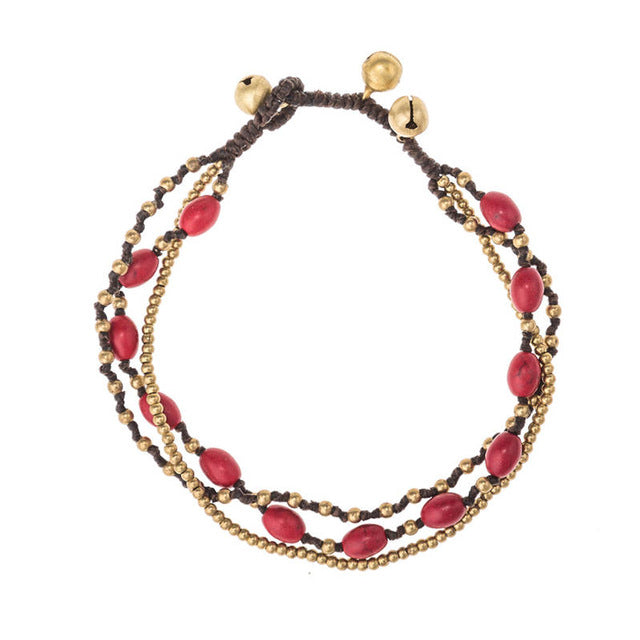 Handmade Colored Stone Beaded Bell Anklet