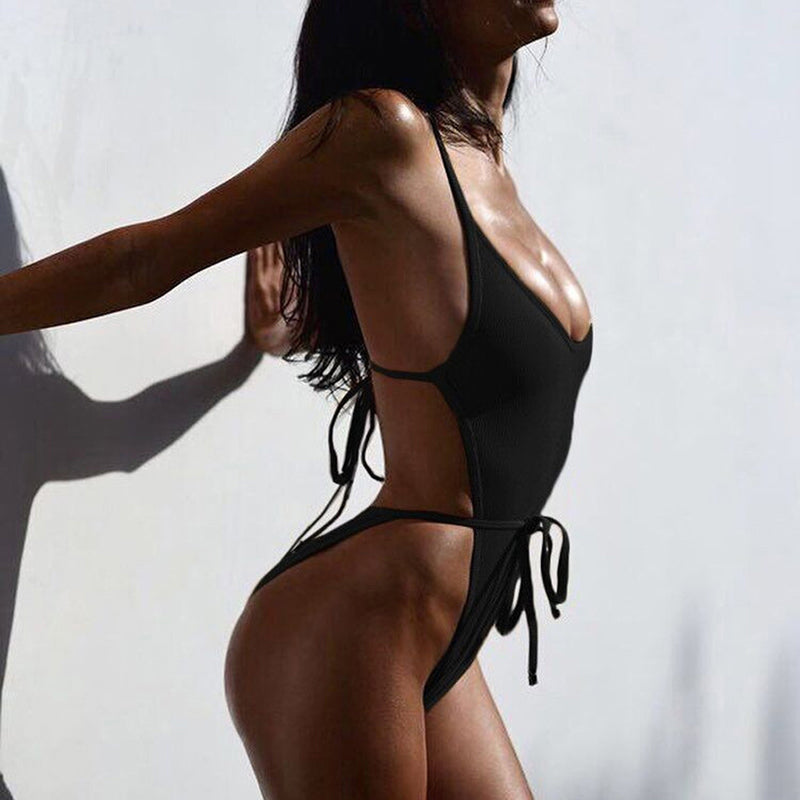 Strappy High Leg Cut Sexy Thong One Piece Monokini