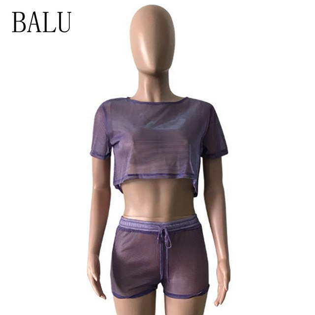 BALU Sexy Sheer Mesh Jumpsuit Romper 2 Piece Set Women Short Sleeve See Through Club Wear Bodycon Playsuit Beach Summer Overalls