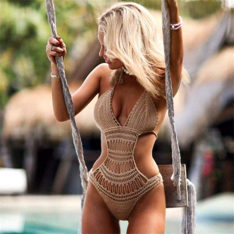 Knit Crochet One Piece Swimsuit