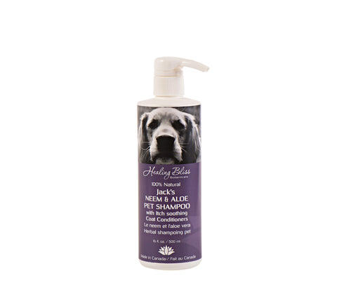 Jack's Neem and Aloe Pet Shampoo - temporarily unavailable as we register for Veterinary Health Product #s with Health Canada.  We apologize for any inconvenience.  Check back soon :)