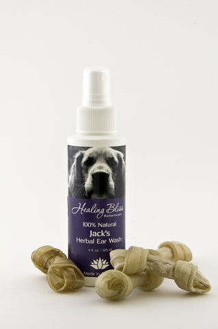 Jack's Herbal Ear Wash & Anti-fungal Skin Spray - temporarily unavailable as we register for Veterinary Health Product #s with Health Canada.  We apologize for any inconvenience.  Check back soon :)