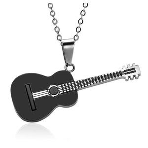 Classic Guitar Stainless Steel Music Necklace & Pendant