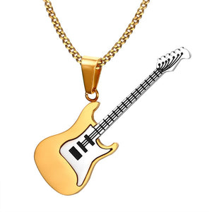Stainless Rock Electric Guitar Bass Pendant & Necklace