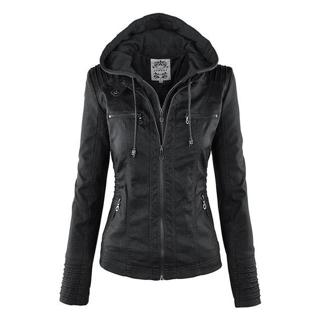 Daisy Hooded Leather (ECO) Jacket