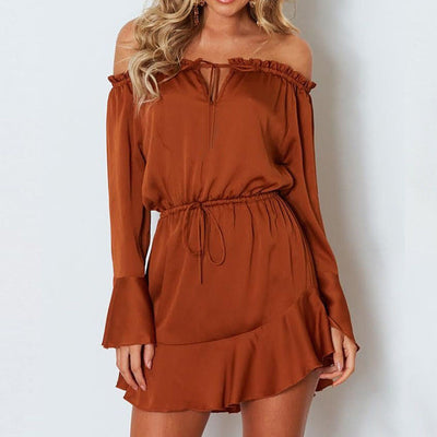 Empty Shoulder Solid Dress