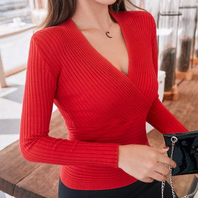 Sexy V-neck Knitted Sweater