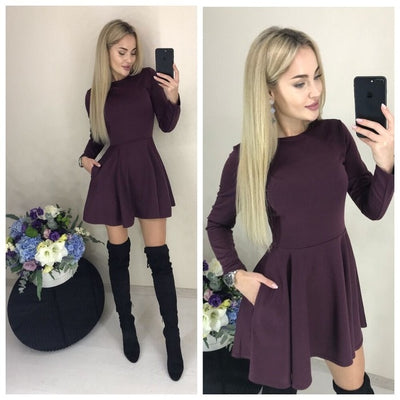 O-neck Fit Long Sleeve Dress